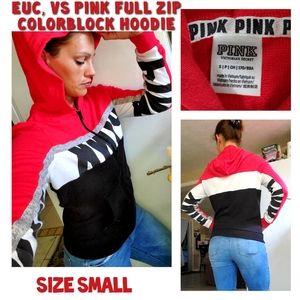 EUC, VS Pink logo full zip color block hoodie